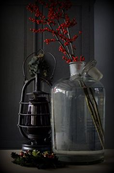 via: awesomelivingrosita Anita, Center Table, Primitive Christmas, Light In The Dark, Color Splash, Lanterns, Reflection, Neutral, Vase