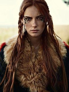 """f Ranger Leather Cloak portrait midlvl Stina Olsson in """"Naturbarn"""" for Elle Sweden, November 2014 Photographed by: Eric Josjo Goa Style, Gypsy Style, Rave Outfit, Celtic Warriors, Female Warriors, Maquillage Halloween, Halloween Makeup, Warrior Princess, Redheads"""