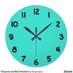 Turquoise and Black Numbers Clocks