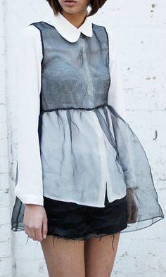 tulle overlay blouse