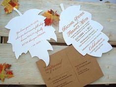 FALLING IN LOVE Hand Cut Autumn Leaf Wedding Invitation -