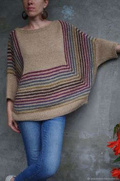 My gradient Granny Tee. Pattern by Annaboos House. mandala yarn/color way Chimera. Sweater Knitting Patterns, Crochet Cardigan, Hand Knitting, Knit Crochet, Crochet Patterns, Knit Poncho, Knitting Projects, Crochet Projects, Knit Fashion