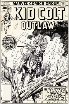 Original and final cover art by Gil Kane from Kid Colt Outlaw... Original and final cover art by Gil Kane from Kid Colt Outlaw #216 published by Marvel Comics March 1977.