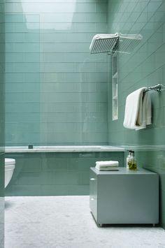 Grey green glass tiled bathroom by Ann Sacks
