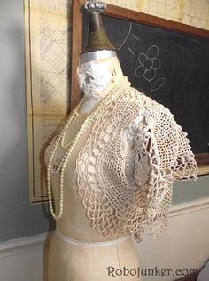 Shrug made from vintage doilies