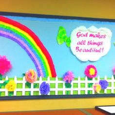 Spring bulletin board by lcmcelyea Bible Bulletin Boards, Christian Bulletin Boards, Spring Bulletin Boards, Preschool Bulletin Boards, Sunday School Rooms, Sunday School Classroom, Sunday School Crafts, Classroom Ideas, Classroom Door