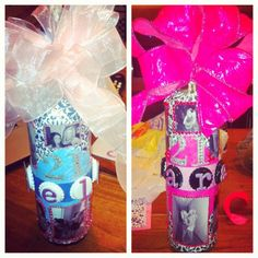 decorating wine bottles for a 21st birthday present