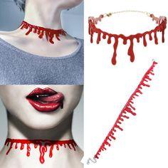 Party Necklace Deathrock Choker Halloween Stitch Punk Dress Ball Blood Red Rock