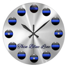 Shop Thin Blue Line Flag and Stars Inlay Buttons Large Clock created by DimeStore. Police Officer Gifts, Police Gifts, Thin Blue Line Flag, Thin Blue Lines, Blue Candles, Large Clock, Bar Signs, Painted Rocks