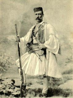 """76945-costume-research-and-more: """" Greek man in full army costume… also stayed in Egypt during the Mamluk Dynasty 19th century Orientalist drawing … artist not named """""""