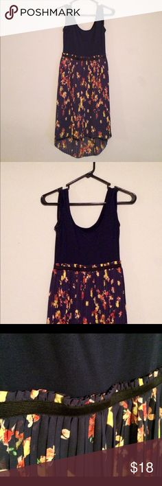 Asymmetrical hi-low yellow navy blue floral dress Xhilaration size S navy blue/multi floral sleeveless dress with a hi-low hemline. Worn once. Has a good bit of stretch and comfortable in the summer! Xhilaration Dresses High Low