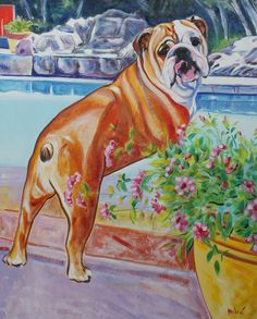 living a good life oil on canvas by drago milic Dog Love, Puppy Love, Bully Dog, Thread Painting, English Bull, Dog Art, Pet Portraits, Artsy, Canvas