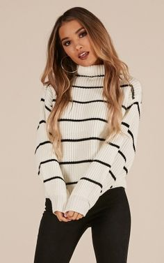 Bleach Tie Dye Discover Close To You Knit Sweater In White Stripe Produced By SHOWPO Close To You knit sweater in white stripe Winter Fashion Outfits, Look Fashion, Fall Outfits, Christmas Outfits, Emo Outfits, Party Outfits, Christmas Sweaters, Latest Fashion For Women, Latest Fashion Trends
