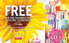 Get A FREE New Fine Fragrance Mist With Coupon At Bath & Body Works With Any $10 Purchase!