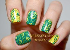 Dressed Up Nails - floral stamped nail art with Winstonia plate W110