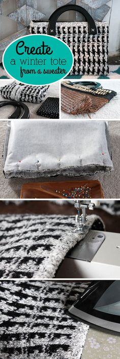 Take an old, beat-up purse and transform it into a cute winter tote made from an old sweater! Seriously, such a great upcycle idea!  www.ehow.com/...