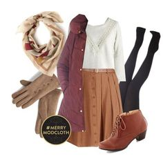 Tan midi skirt, white top, burgundy jacket, camel boots, cream scarf, black tights