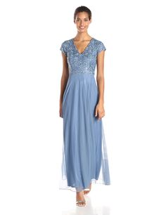 V-Neck Cap-Sleeved Beaded Top Chiffon Gown by JS Collection