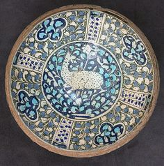 Bowl with Deer Motif Object Name: Bowl Date: 14th century Geography: Iran, probably Kashan Medium: Stonepaste; underglaze painted (Sultanabad ware) Dimensions: H. 4 3/8 in. (11.1 cm) Diam. 7 7/8 in. (20 cm) Classification: Ceramics Credit Line: H.O. Havemeyer Collection, Gift of Horace Havemeyer, 1941 Accession Number: 41.165.43