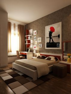 "Some beautiful and well designed bedrooms. Like the great use of color in accents. ""smart and sassy"""
