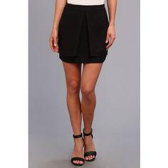Brigitte Bailey Knockout Slit Shorts Women's Skort, Black ($25) ❤ liked on Polyvore featuring skirts, mini skirts, black, black mini skirt, golf skirt, black skort, black straight skirt and straight skirt