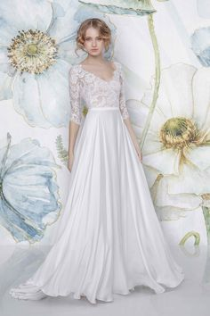 CAYENNE -  SADONI Bridal 2018 - Delicate V neck dress with covered lace back with flowy satin chiffon skirt - www.sadoni.no