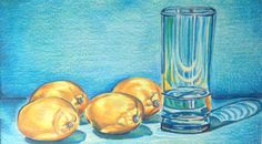 Tangerines, lemons. Color pencil. Contrast. Glass of water by Gloria E
