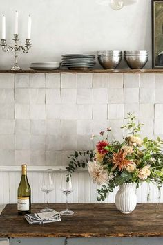 This Backsplash Trend Is Actually Totally Timeless #purewow #trends #renovation #bathroom #home #kitchen #backsplashtrend #kitchentrends #backsplash #kitchendecor #kitchenbacksplash #zelligetile #kitchentile #backsplashtile #dreamkitchen #bathroomtile #bathroomdecor