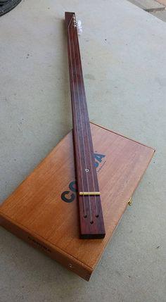 2nd Wave :  3-string, slide, fretless, cigarbox guitar with piezo pickup...adjustable, paduak neck... by SonoranStringWorks on Etsy
