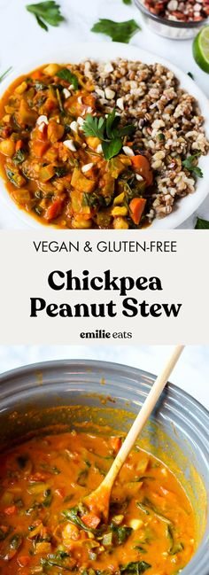 Slow Cooker Chickpea Peanut Stew (vegan - gluten-free) – Emilie Eats Slow Cooker Recipes, Beef Recipes, Soup Recipes, Whole Food Recipes, Vegan Slow Cooker Stew, Vegan Stew, Peanut Recipes, Chowder Recipes, Snacks Recipes