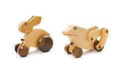 Wooden animal set 4: wooden rabbit & wooden frog - wooden toys - Woodix Toys ©2008