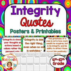 This Character Traits Quotes Posters and Printables product focuses on INTEGRITY and includes 10 character traits quotes posters and 10 printables that correspond to each quote about integrity.You can use this resource in a number of ways.-Display each character quote poster in the classroom as time allows and discuss one quote at a time.-Complete the printables during class, with partners or groups, or send it home for homework.