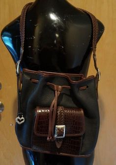 Brighton Drawstring Shoulder Bag Tote Blk Pebbled & Brn MocCroc Braided Leather  #Brighton #ShoulderBag