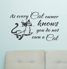 Self-adhesive Vinyl Wall Lettering Available in 3 sizes listed in SIZE drop down menu As every Cat owner knows you do not own a Cat CHOOSE YOUR COLOR AND SIZE FROM DROP DOWN MENU *For Color reference