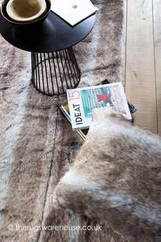 Faux Fur Rug Brown Pure Products Carpet Fishing Line