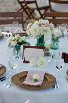 Chic, rustic table design from my rehearsal dinner that I want to use for friend's couples shower (design by Beth Helmstetter; ;flowers by Holly Flora)