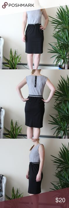 "EUC Maurices Sleeveless Grey and Black Dress - S EUC Black and Grey Laced Professional Dress! - Size small. I am a size 4 in dresses and this fits perfect - Top is grey with over-lay of lace roses - Bottom is solid black and very soft - Button up back - Belt loop on each side - Comes with belt (it looks silly in the picts, but it can sit lower in the black part lol) - I am 5' 4"" and this hits at my knees - Very appropriate length - Selling because I no longer work wear I need to wear this…"