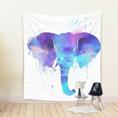 Visit my Shop to use this coupon code for 20% off: XMAS16 --- Until 7th December 2016. --- WALL TAPESTRY Watercolor Elephant Art large wall decor Colorful Tapestry African Animal Tapestry Purple Blue tapestry Bright Tapestry by DrawingIllustration