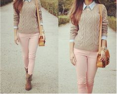 Sweater with button up underneath.