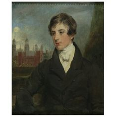Oil painting - Alexander Boyd 1845. Half-length portrait of a boy, turned to front and looking to left. The sitter is wearing a black high-collared coat and white cravat. In the left background is Eton College.