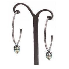 Diamond and Tahitian Pearl Hoop Earrings