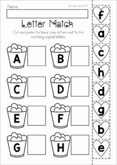 Valentines Day Preschool No Prep Worksheets and Activities. Upper and lower case letter match cut and paste activity. Printable Preschool Worksheets, Alphabet Worksheets, Free Preschool, Preschool Learning, Printable Alphabet, Preschool Books, Kindergarten Readiness, Kindergarten Math Worksheets, Kindergarten Books
