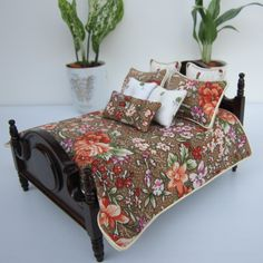 Miniature Dollhouse Brown Orange Flowery  Bedding 1:12 scale for double bed. $26.49, via Etsy.