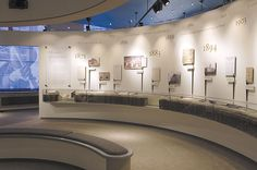 Wall timeline, raised plaques and display cases - Mary Baker Eddy Museum Exhibition Design, Exhibition Poster, Exhibition Display, Exhibition Space, Design Museum, Display Design, Booth Design, Interactive Museum, Timeline Design