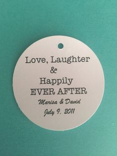 100 love, laughter and happily ever after tags.