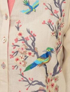 Cream Roll-Up Sleeve Embroidered Linen Kurta