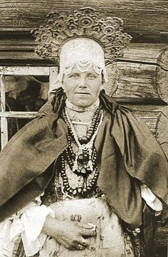 Russian woman in traditional costume with traditional  headdress XIX century