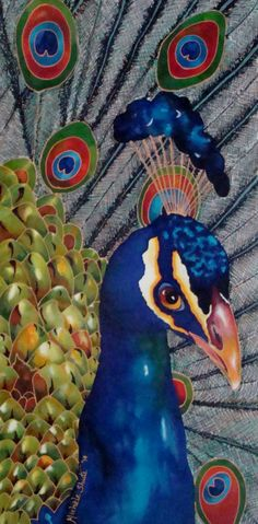 Silk Painting of a Peacock by Michele Shute. 2014