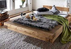 Bett Doppelbett Balken Bett Kiefer Fichte massiv Altholz gewachst rustikal