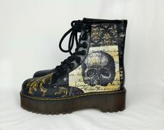handmade and unique funky goth punk shoes by RockYourSole on Etsy Steampunk Shoes, Skull Shoes, Gothic Boots, Custom Boots, Funky Fashion, Gothic Outfits, Shopping Hacks, Alternative Fashion, Victorian Fashion